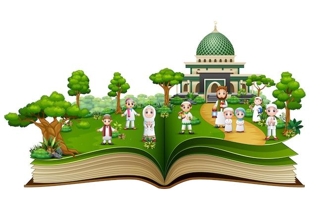 Offenes buch mit happy muslim familie vor einer moschee