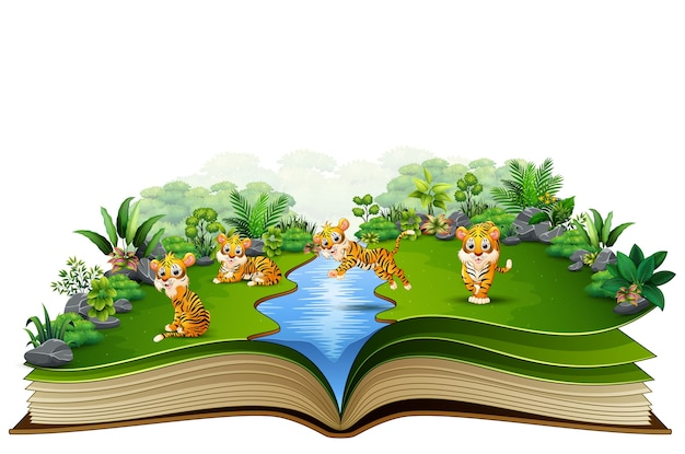 Offenes buch mit tiger-cartoon-gruppe