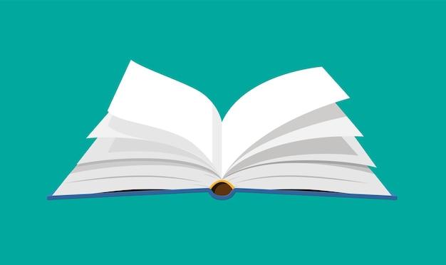 Offenes buch mit umgedrehten seiten. lesen, bildung, e-book, literatur, enzyklopädie. vektorillustration im flachen stil