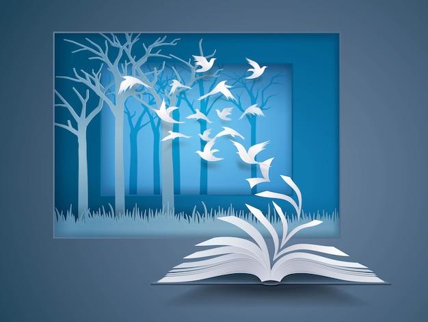 Offenes buch mit vogel fliegt davon, paper pages change, vögel fliegen in den wald