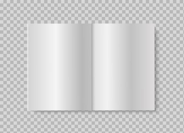 Offenes buch oder magazin. realistisches mock-up leere weiße seiten auf transparentem hintergrund. vektorillustration des geöffneten broschüren- oder broschürenentwurfs der verbreitung