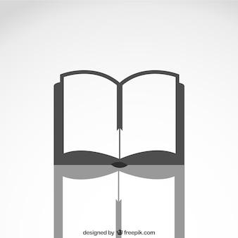 Offenes buch-symbol mit reflexion
