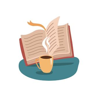 Offenes buch und tasse, tasse heißen tee oder kaffeegetränk