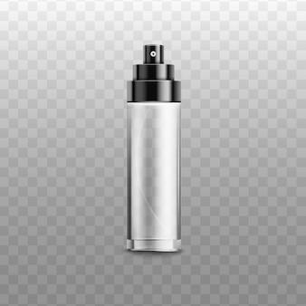 Offenes flaschenspray aus metall oder glänzendem kunststoff für parfüm, deodorant oder erfrischer, realistische illustration auf transparentem hintergrund. kosmetikverpackung.
