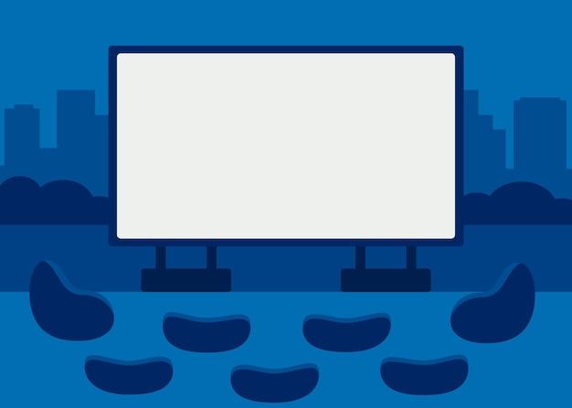 Offenes freiluftkino vor dem kino mit sitzpuffs film nachts auf der leinwand ansehen