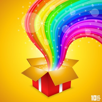 Offenes geschenk mit regenbogenkunst. vektor-illustration