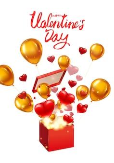 Offenes geschenk zum geschenk zum valentinstag mit fliegenden herzen, goldballons und hellen lichtstrahlen, explosion platzen