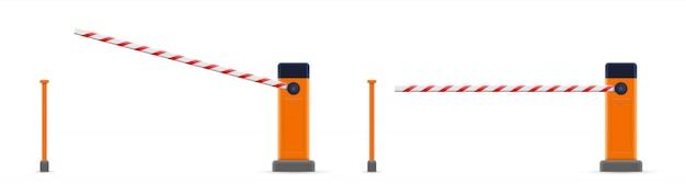 Offenes, geschlossenes parkplatztor, haltestelle grenze