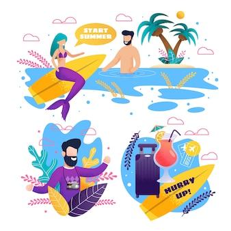 Offenes werbeset für sommer und surfsaison