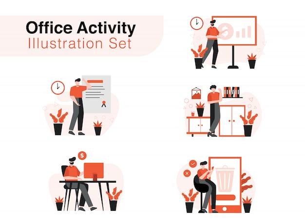 Office activity illustration set
