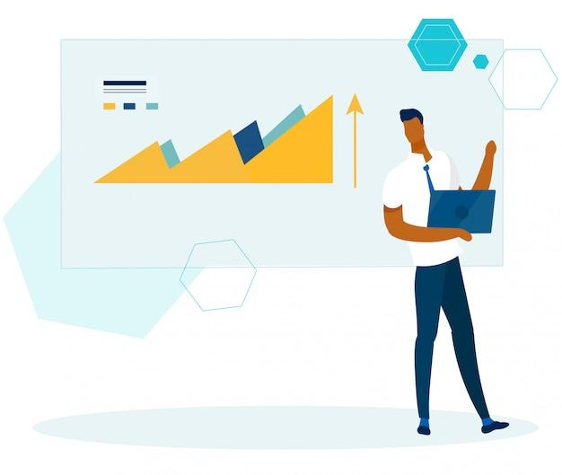 Office analyst mit laptop überprüft finanzbericht