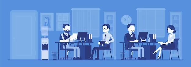 Office business workspace hr manager interviewt bewerber firmenmitarbeiter arbeiten Premium Vektoren