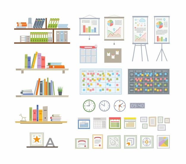 Office essentials - moderne flache vektorsymbole gesetzt. verschiedene bücher, ordner, infografik, kalender, organizer, digitale und mechanische uhr, haftnotizen, zertifikat, stern, auszeichnung, rahmen,