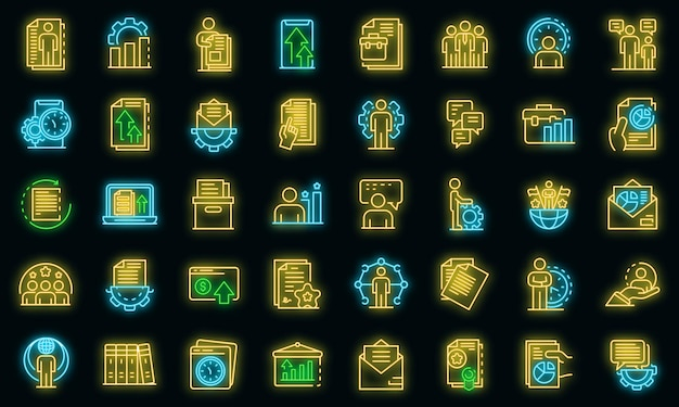 Office-manager-symbole gesetzt. umrisse von office-manager-vektorsymbolen neonfarbe auf schwarz
