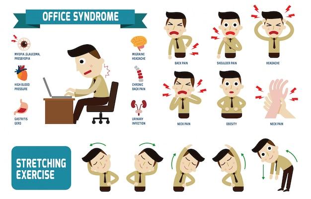 Office-syndrom infografiken gesundheitskonzept