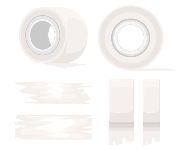 Office-tool und so. klebebandrolle. weißes klebeband und klebebandstücke. illustration auf weißem hintergrund