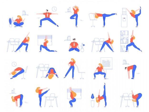 Office yoga übungen. fitness- und yoga-training für büroangestellte, entspannen und dehnen im büroraum-illustrationsset. aufwärmen für angestellte. sporttraining und asanas am arbeitsplatz