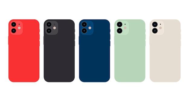 Offizielle farben des smartphones mit flachem design