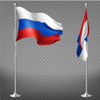 Offizielle nationale trikolore-flagge der russischen föderation