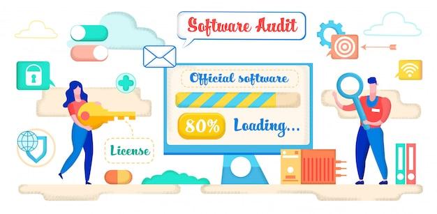 Offizielles laden der software. frau, die lizenz hält.