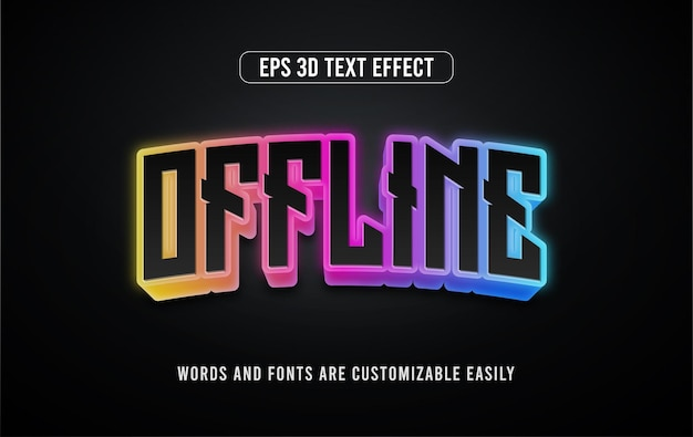 Offline-e-sport 3d-bearbeitbarer vektortext-stil-effekt