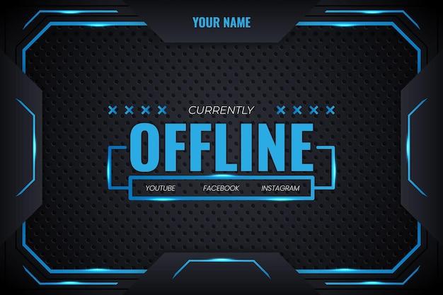 Offline-streaming futuristischer gaming-hintergrund mit blauem farbverlauf und lichtlinien, vektordesign modern