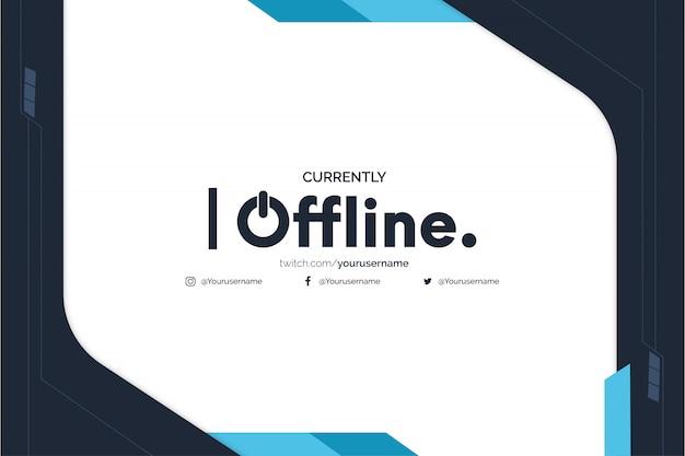 Offline twitch banner hintergrund mit abstrakten blauen formen vorlage