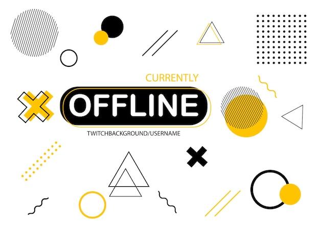 Offline-twitch-banner im memphis-design kostenlosen vektoren