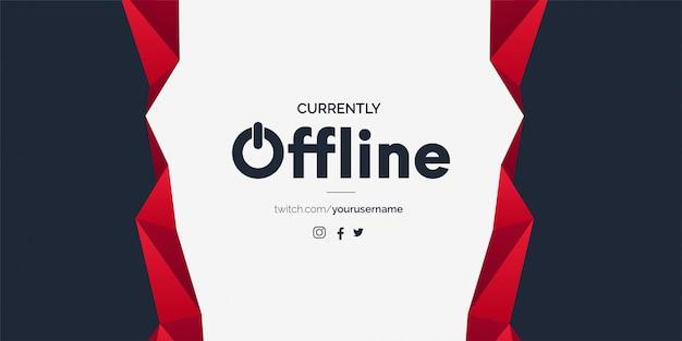 Offline twitch banner vorlage mit abstrakten formen