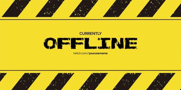 Offline twitch hintergrunddesign mit grunge hintergrundvorlage