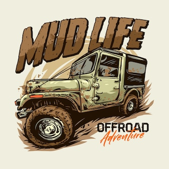 Offroad abenteuer t-shirt grafik illustration