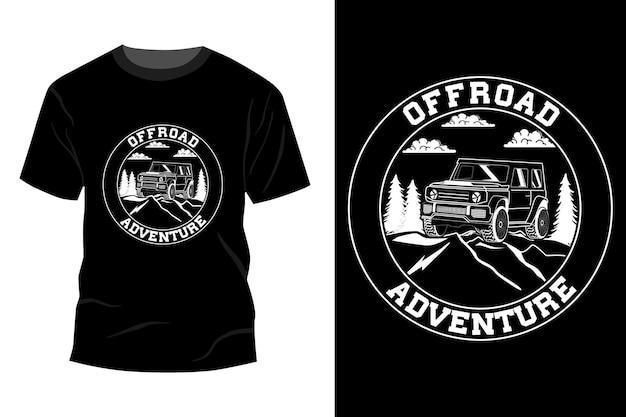 Offroad-abenteuer-t-shirt mit mockup-design-silhouette