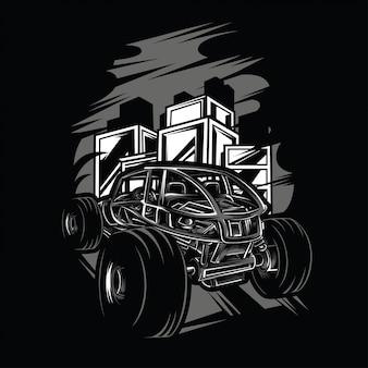 Offroad an der stadt-schwarzweiß-illustration