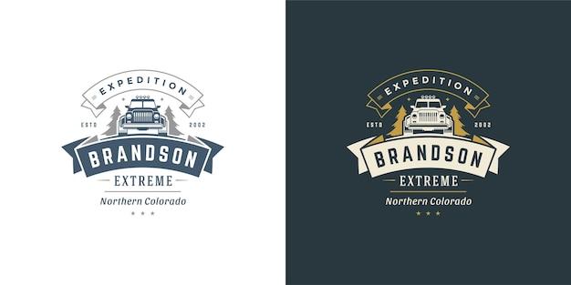 Offroad-auto-logo-emblem-vektor-illustration im freien extreme abenteuer expedition safari suv-silhouette für hemd oder druckstempel. vintage-typografie-abzeichen-design.