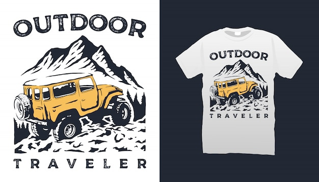 Offroad auto und berg t-shirt design