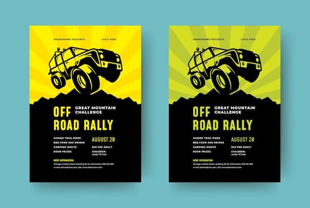 Offroad-lkw-wettbewerbsplakat oder flyerereignis moderne typografie-entwurfsschablone und x geländewagen