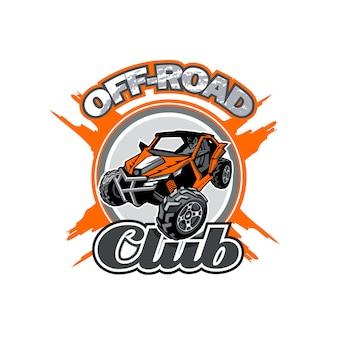 Offroad utv club logo mit orangem buggy in der mitte