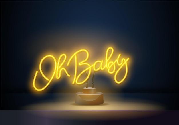 Oh baby-neon-stil-schriftzug im vektor. oh baby neonplakat, designvorlage, modernes trenddesign, nachtschild,