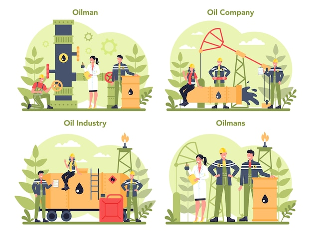 Oilman und petroleum industry concept set