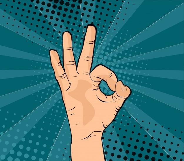 Ok hand in ordnung und einverstanden zeichen comic pop-art-stil