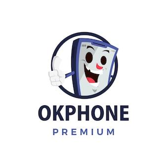 Ok telefon schlag auf maskottchen charakter logo symbol illustration