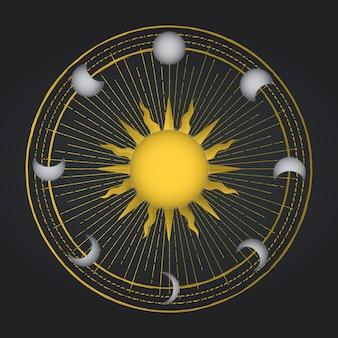 Okkulte sonne mit mondzyklus. okkultismus dekoration