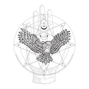 Okkultes symbol, illustration im vintage-stil oder tattoo-vorlage. handgezeichnete fliegende schwarze eule