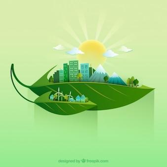 Ökologie Landschaft auf Blättern