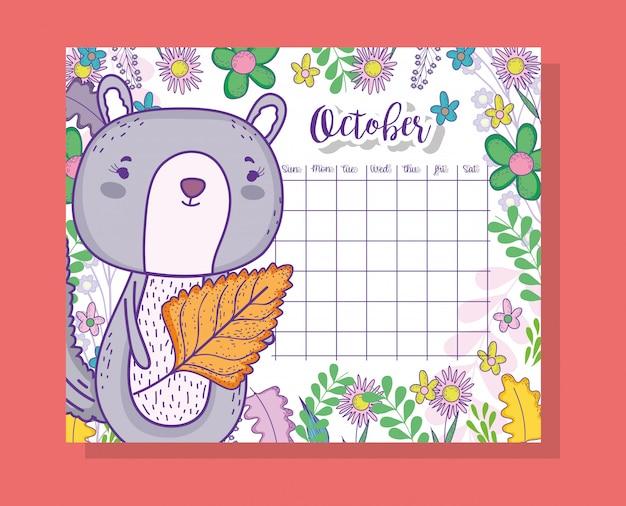 Oktober-kalenderinformation mit eichhörnchen und pflanzen