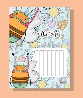 Oktober-kalenderinformationen mit bienen und blumen