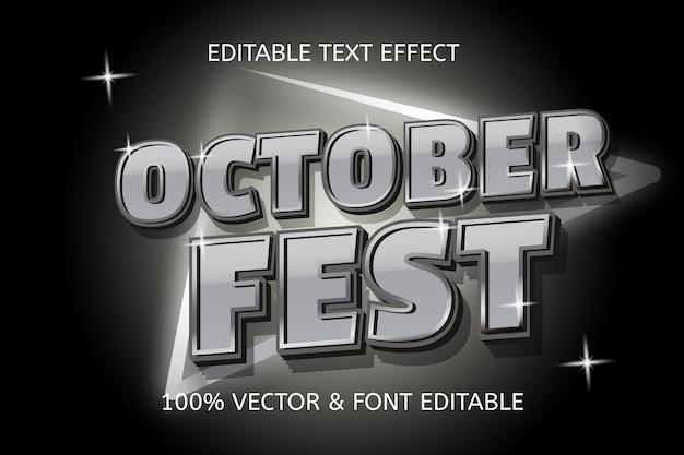 Oktober schneller silberfarbener bearbeitbarer texteffekt