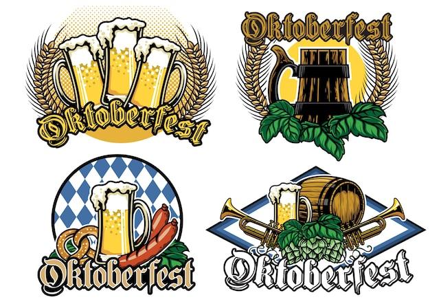 Oktoberfest-abzeichen-design-set