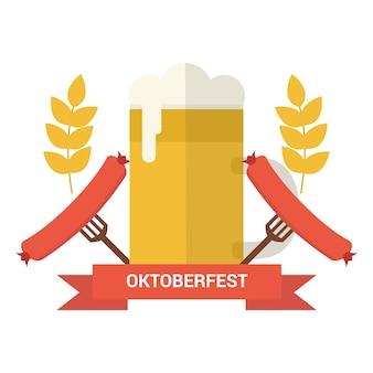 Oktoberfest-abzeichen mit bier und wurst