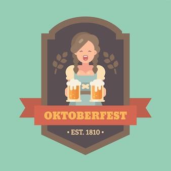 Oktoberfest-abzeichen mit dem biermädchen, das zwei bierkrüge hält
